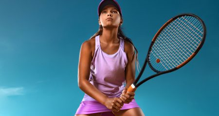Tennis,Player.,Beautiful,Girl,Teenager,And,Athlete,With,Racket,In